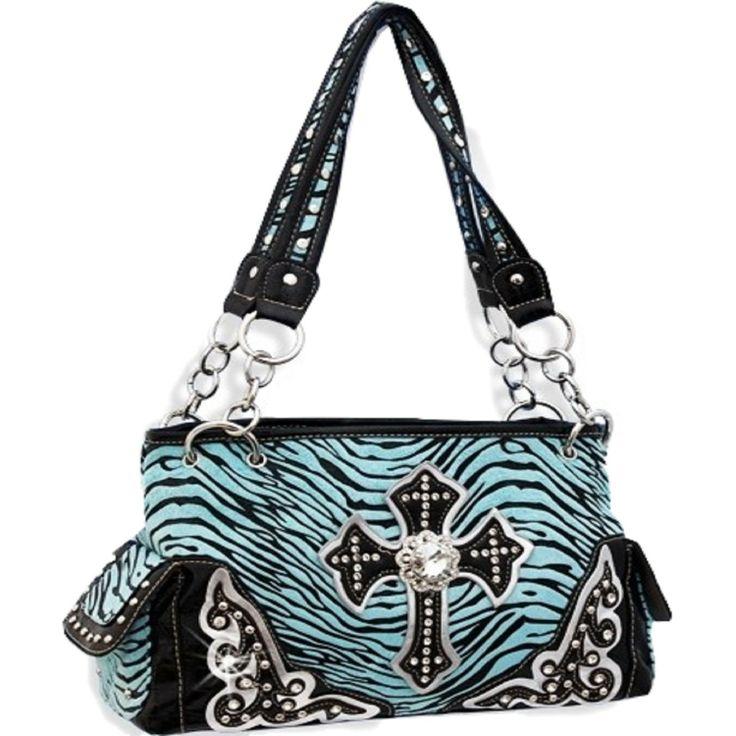 Handbags, Bling & More! Turquoise Zebra Print Cross Purse with Rhinestones : Western Style Cross Purses