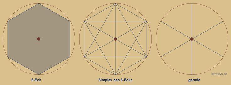 Welche Geometrie vermag Zahlen besser zu präsentiern als Polygone, deren Ecken den natürlichen Zahlen entsprechen? Es ist die Geometrie der Simplexe. Simplexe sind Polygone, bei denen alle Eckpunkte diagonal mit jedem anderen Eckpunkt verbunden sind. Dabei entstehen innerhalb des Polygons Sternpolygone. Diese Sternpolygone beschreiben geometrisch die Teilbarkeit der Eckenanzahl des Polygons = natürliche Zahl. http://tetraktys.de/geometrie-2.html