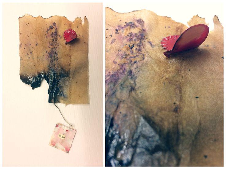 Tea bags art...hope #teabags #teabagsart