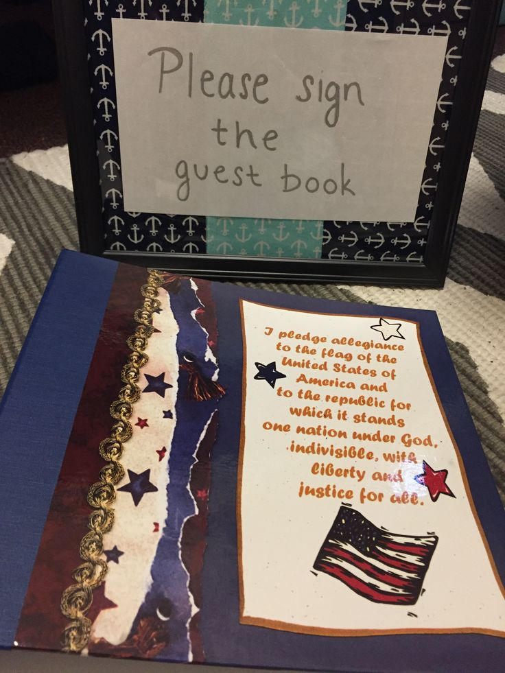 Guest book and sign for Cody to remember everyone from home. Boot camp going away party; navy party