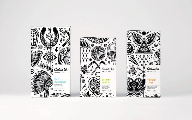© Robot Food aus Leeds, England   Packaging Design & Identity für »Electric Ink« mit Illustrator Tom Gilmour (London)   Mehr Bilder: http://page-online.de/kreation/markenpositionierung-von-tattoo-pflegeprodukt/