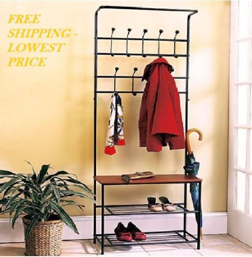 Metal Entryway Bench With Wood Seat Shoe Coat Rack Storage Hooks