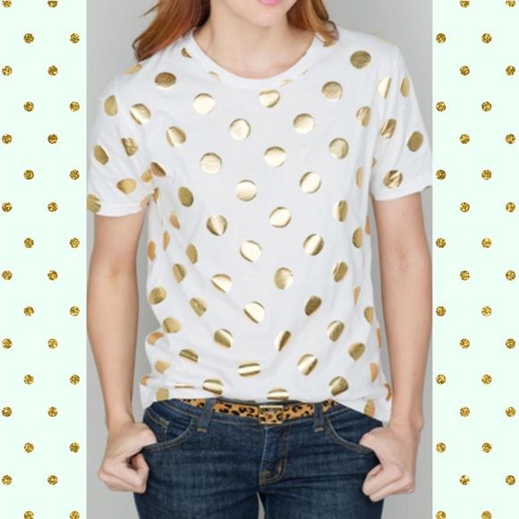 On SALE  White & gold polka dot tee!  Worn once. Size Large but fits a little small. Tops Tees - Short Sleeve