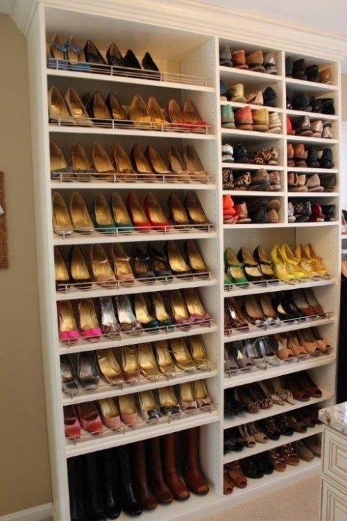 different shelf heights for different kinds of shoes closet inspiration pinterest shelves. Black Bedroom Furniture Sets. Home Design Ideas
