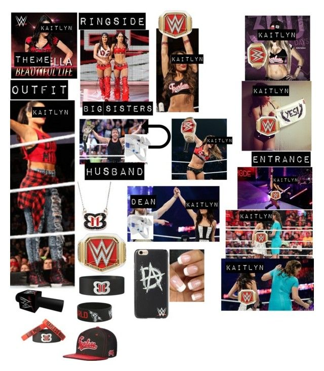 """""""Kaitlyn celebrating becoming the longest reigning WWE Ultimate Women's Champion with her sisters Nikki and Brie, and with her husband (who has been recovering from a neck injury caused by the authority)/WWE world heavy weight champion Dean Ambrose"""" by kaitlyngilmore ❤ liked on Polyvore featuring Champion and Rifle Paper Co"""