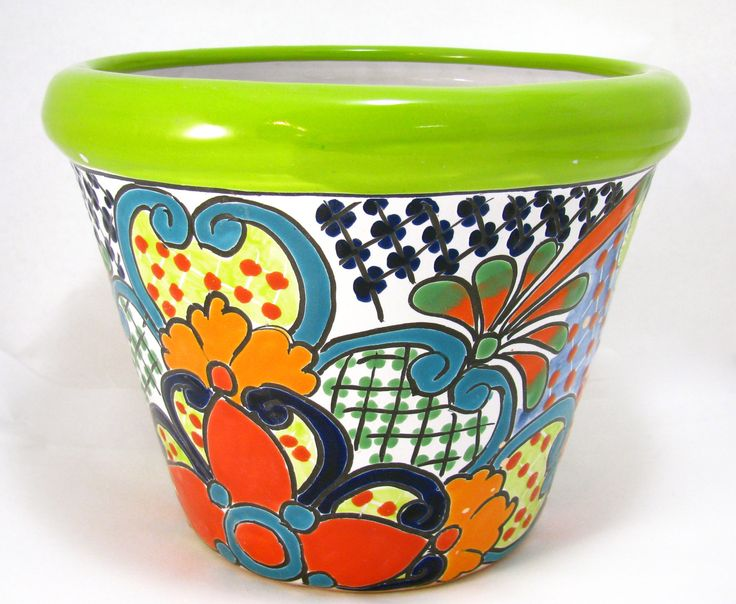 "TALAVERA FLOWER POT PLANTER MEASURES: 7.5"" TALL 10""WIDE HAND PAINTED MADE IN MEXICO (SIZE AND COLOR MY VARY) ITEM THAT YOU SEE IS THE ONE YOU WILL RECEIVE SIZE AND COLOR MAY VARY COLORS MIGHT BE BRIGH"