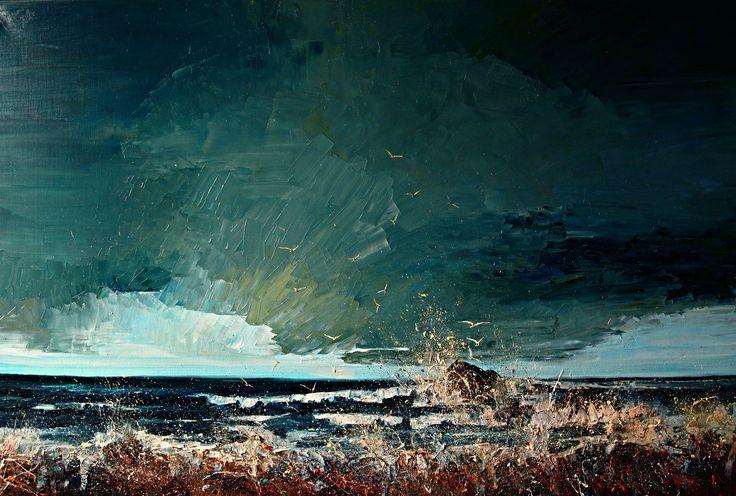 Poolse kunstenares Justyna Kopania heeft een vrije geest. Met enkele streken, spetters of vegen krijgt ze de prachtigste woeste landschappen op doek. Wilde zeeën, donkere onweerswolken, schuimende golven, maar ook kleurrijke herfsttaferelen ontstaan in haar atelier en laten in hun ruwe eenvoud een diepe indruk achter.