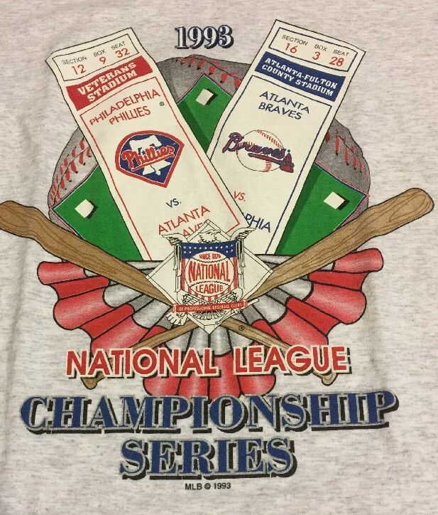 1993 National League Championship Phillies Vs Braves  T-Shirt Size LARGE  MLB  | eBay