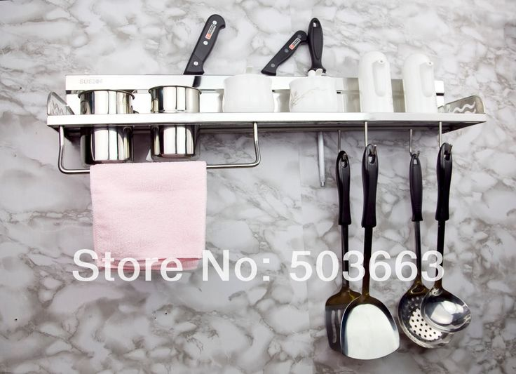 Многофункциональный нержавеющая сталь кухня полка кухня стойку кухонной посуды инструменты крюк стойку кухня держатель для хранения дерево MF-758