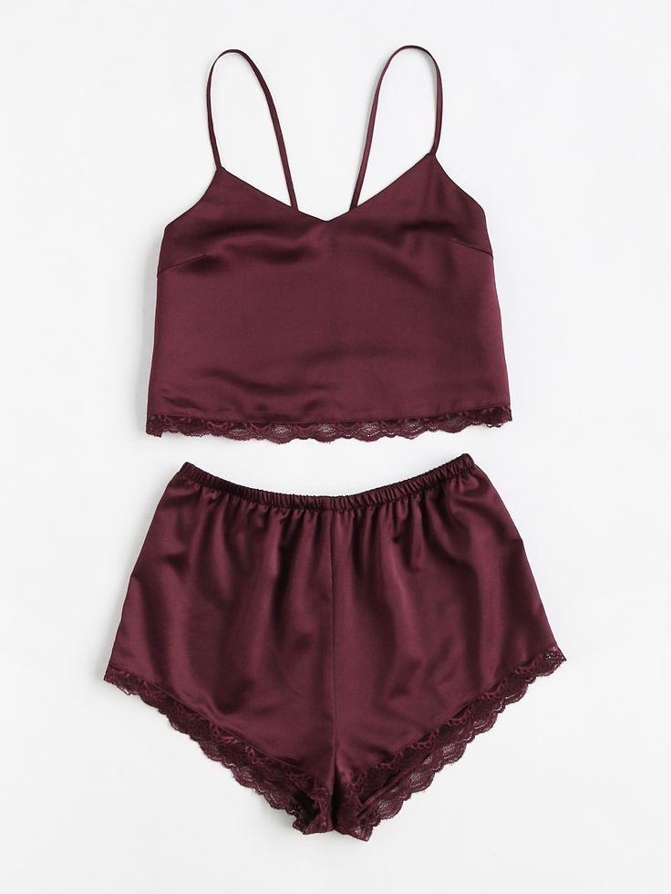 Lace Trim Satin Cami And Shorts Pajama Set -SheIn(Sheinside)