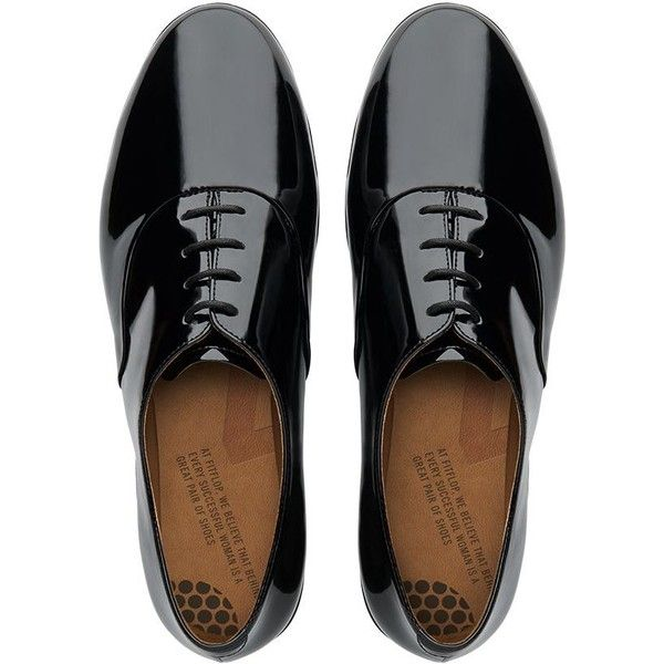 FitFlop F-Pop™ Patent Oxford Shoes found on Polyvore featuring shoes, oxfords, обувь, all black, travel shoes, black wingtip shoes, black oxfords, black patent shoes and patent leather oxfords