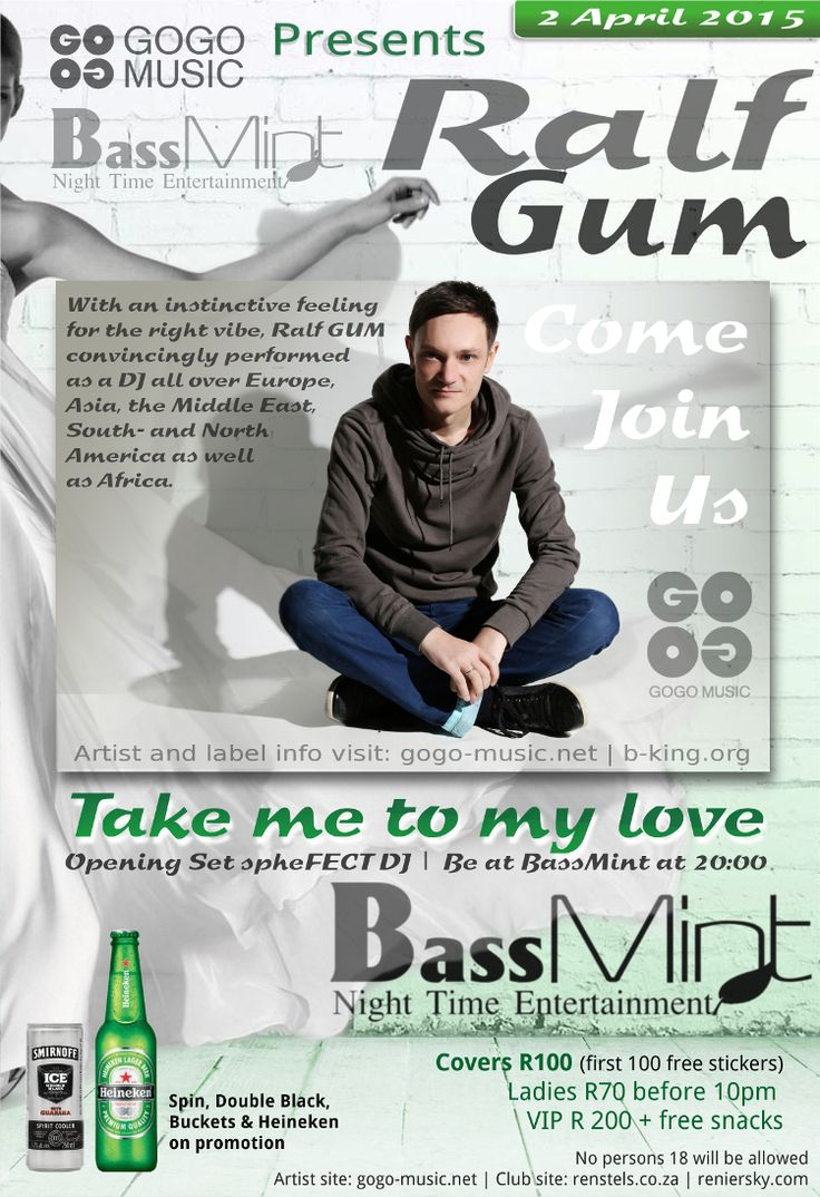 This poster where made as part of the marketing we set in place to promote a new club opening ‪#‎bassmint‬ . The artist ‪#‎ralfgum‬ is popular in many countries and he is currently in South Africa. ‪#‎reniersky‬