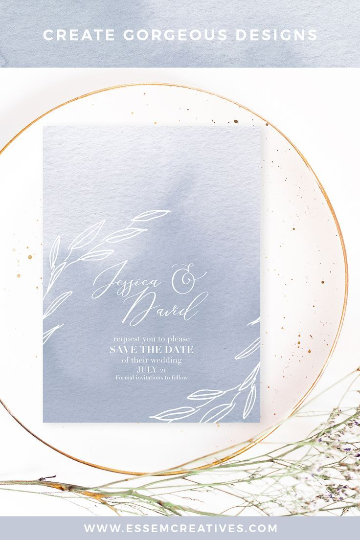 Dusty Blue Watercolor Backgrounds Splashes For Wedding Invitations