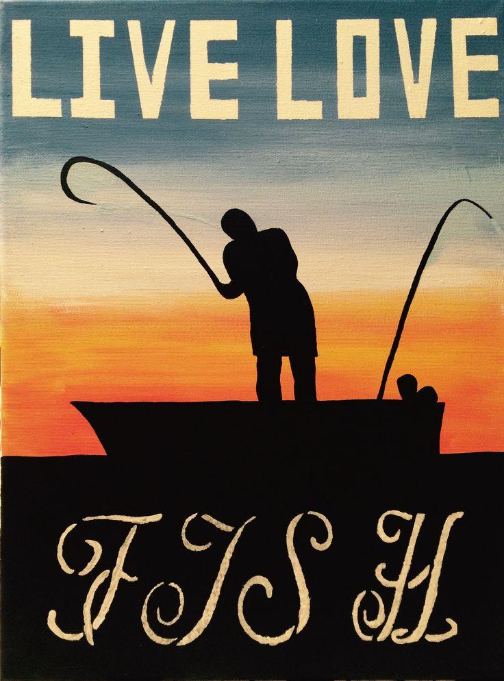 Live love fish acrylic painting sunrise and fisherman