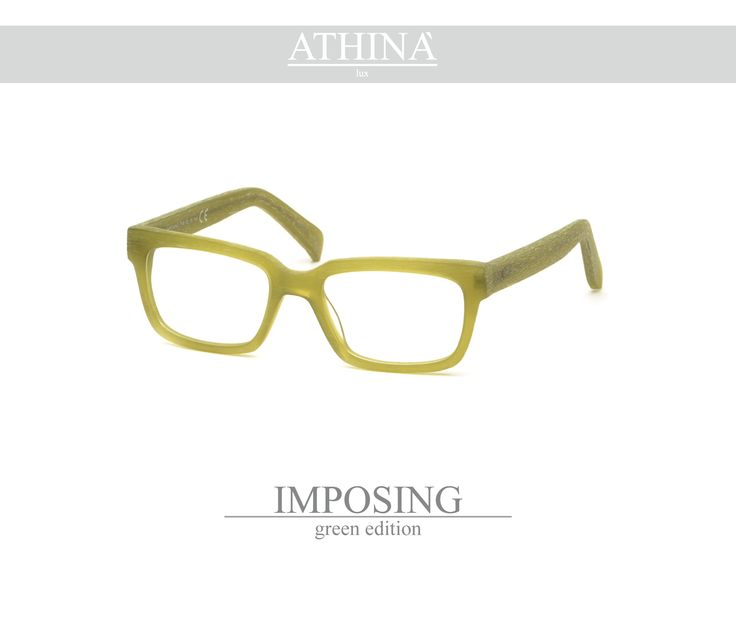 Mod. IMP1313V Spectacles totally made in top-qulity acetate of cellulose with a rectangular shape green edition coloured.