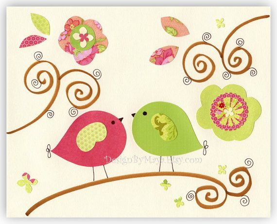 Nursery Decor girl Art for Kids Room birdsI Love by DesignByMaya, $17.00