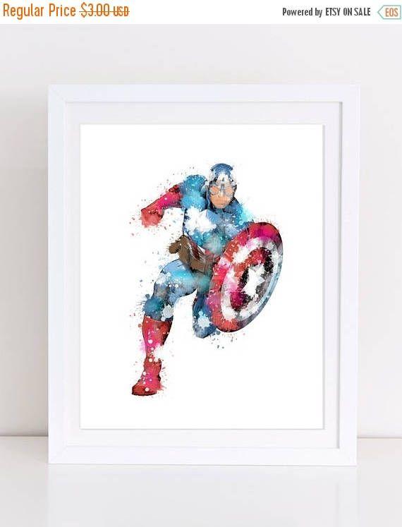 60%OFF avegners watercolor watercolor avengers captain