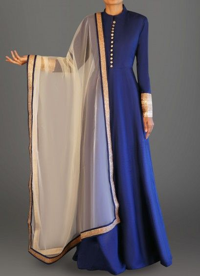 Deep Blue Dhupioni Silk Anarkali