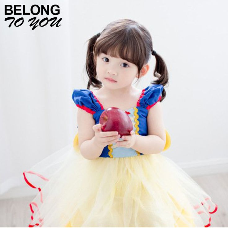 Snow White Dress for Girl Spring and Autumn Children's Dresses Lantern Short Sleeve Cute Princess Dress Baby Clothing 2-12 age #Affiliate