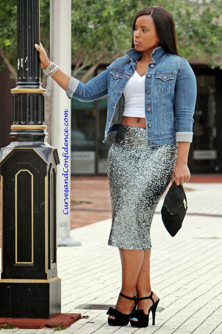 Curves and Confidence | Denim and Sequins |@Target Skirt | @Old Navy Denim jacket & T- shirt | Sequin Pencil Skirt |