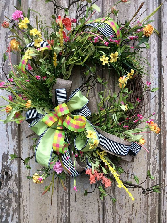 Spring Wreath Front Door Wreath Whimsical Wreath Everyday Wreath Summer Wreath Door Wreath Double Door Wreath Spring Wreath For Door Spring Wreath Whimsical Wreaths Everyday Wreath