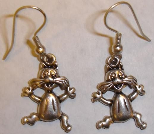 Crazy cat earrings