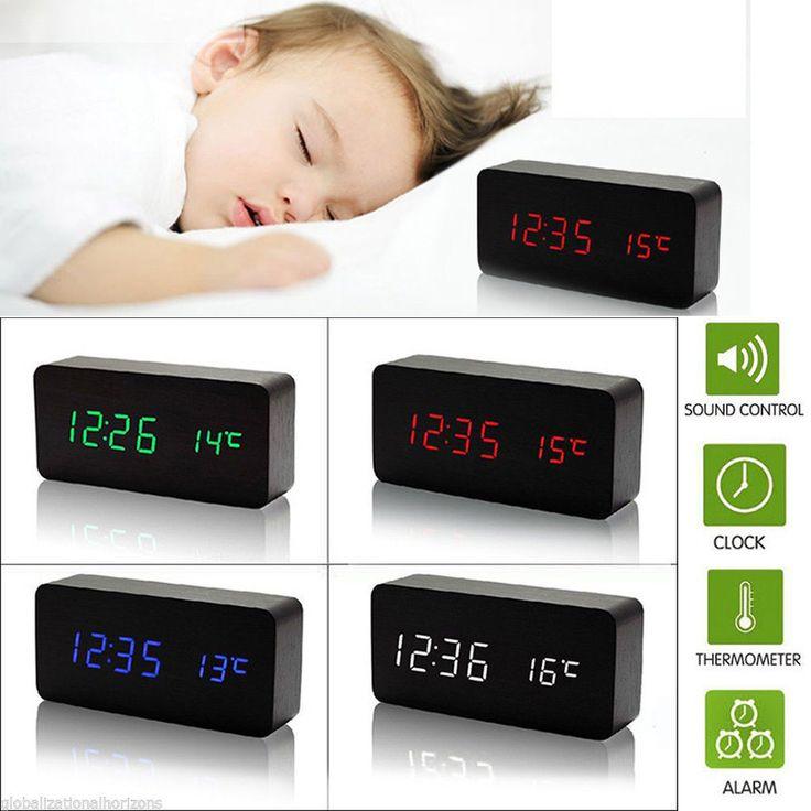 Multi-Function Digital Led Home Wood Desk Alarm Clock Timer Thermometer Control