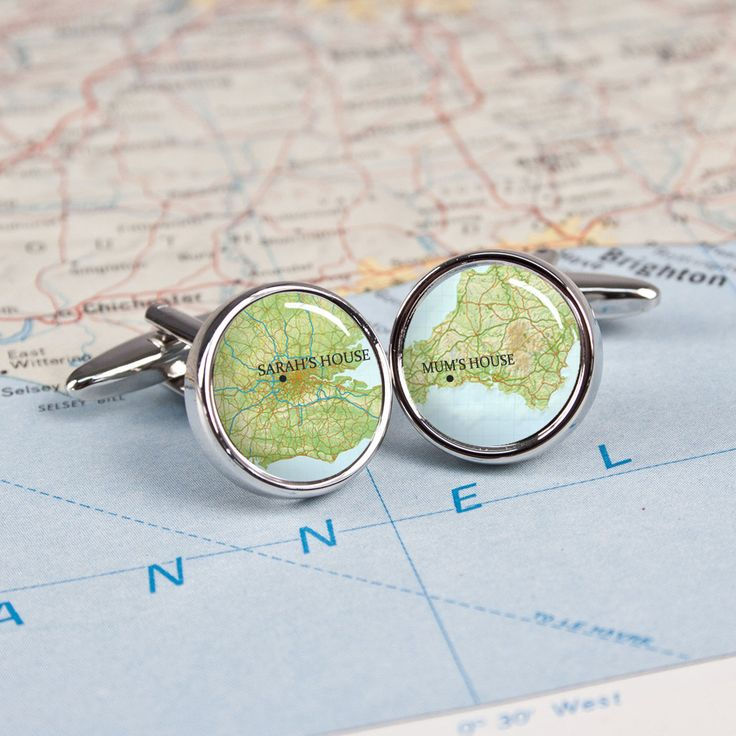Personalise your own set of cufflinks with two unique addresses for a truly personal fashion accessory. Personalised Atlas Style Map Cufflinks - yourgifthouse