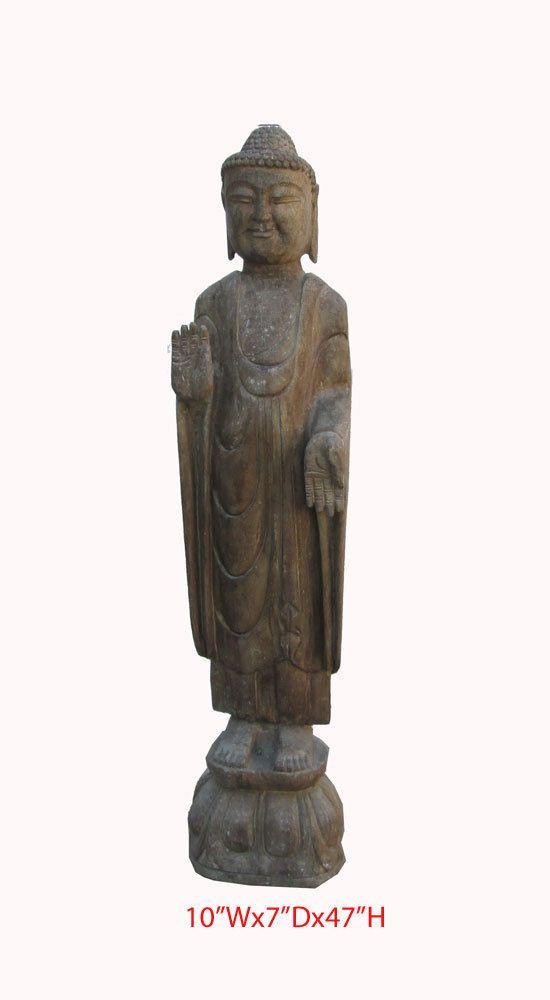 Chinese Antique Stone Hand Carving Standing Buddha Statue WK2637  650 522 9888 Goldenlotusinc@
