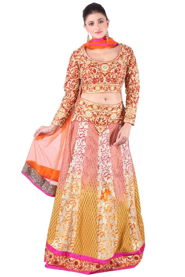 Rust Maroon Raw Silk #Lehenga  Don't loose chance to shop it at: http://www.shadesandyou.com/product/rust-maroon-raw-silk-lehnga/  #LehengaCholi #BridalLehengas #DesignerLehengas