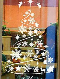 Classic Abstract Christmas Tree Window Stickers – USD $ 17.99
