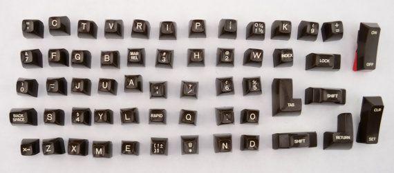 Set of 56 Vintage Electric Typewriter Keys, Plastic Keys, Letters, Numbers, Craft, Jewelry, Steampunk by VintageCornerBazaar #etsy