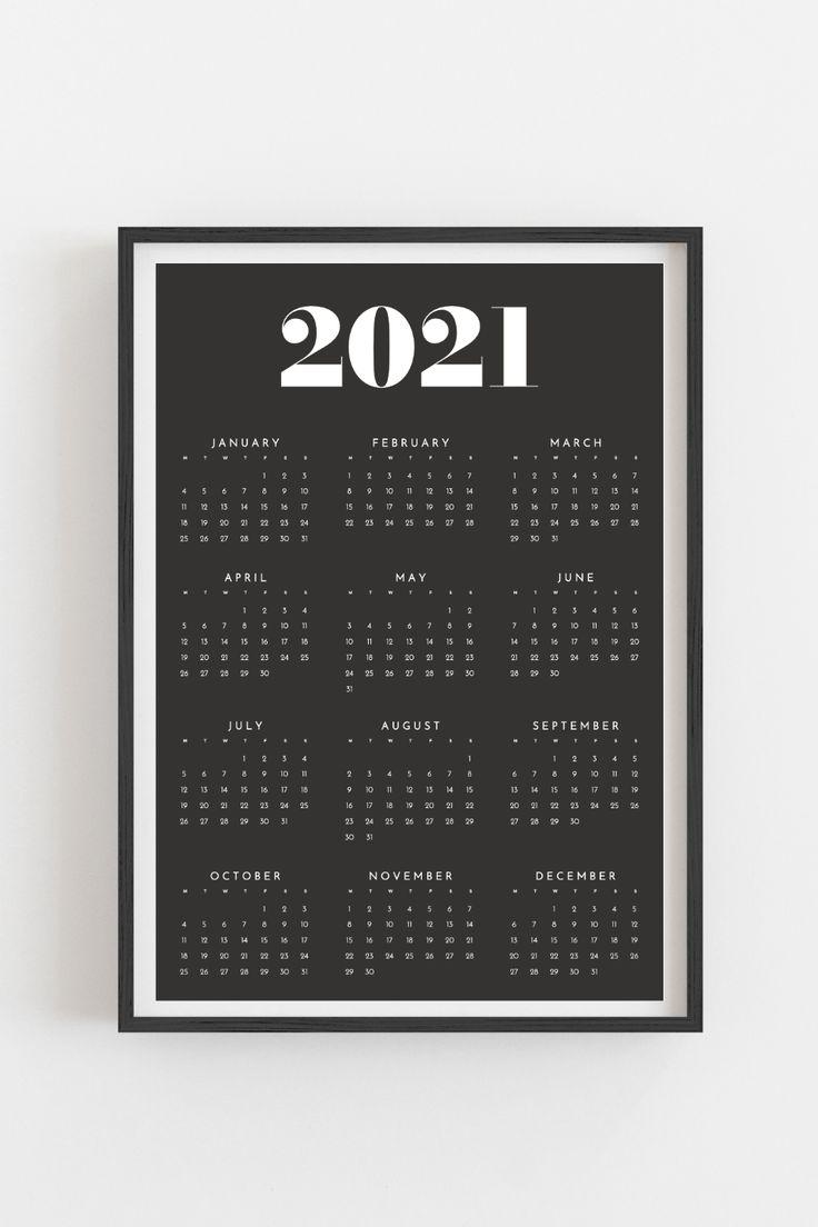 Printable calendar 2021 | Yearly wall calendar | Year at a ...