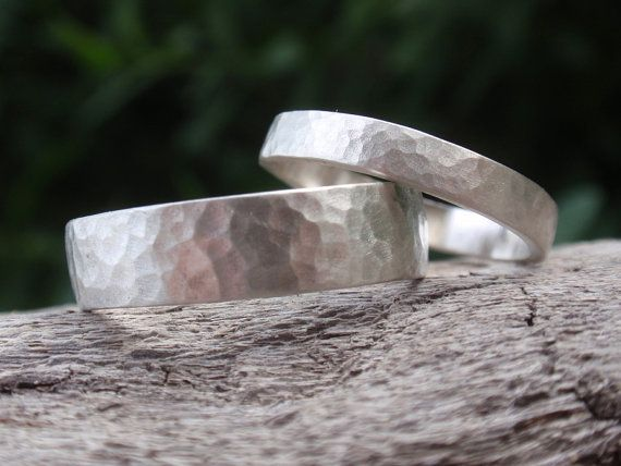 matching wedding bands engagement ring set sterling silver hammered wedding rings - 5mm & 3mm - made to order - handmade jewelry - men women...