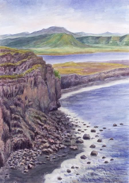 landscape in Iceland watercolor and pastel by Jana Haasová