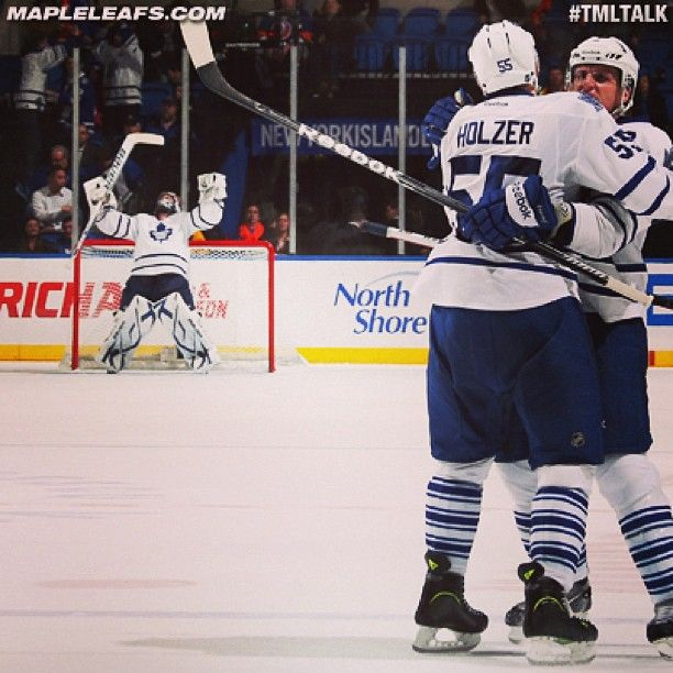 Phaneuf & Holzer celebrate the win with a great reaction from Reimer