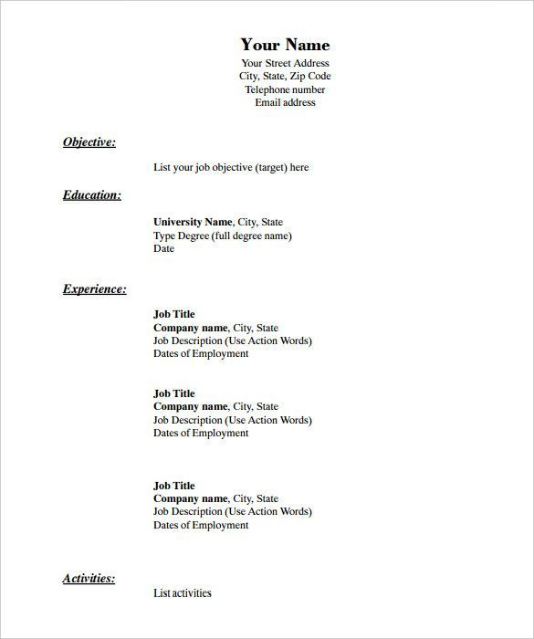 Blank Resume Templates For Microsoft Word Createresumetemplatemicrosoftword Free Printable Resume Downloadable Resume Template Resume Templates