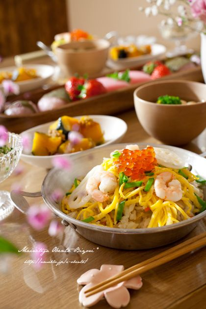 Today's Menu   ・ちらし寿司  ・蛤のお吸い物  ・菜の花の白和え  ・かぼちゃのそぼろ煮  ・いちご、菱餅、桜餅