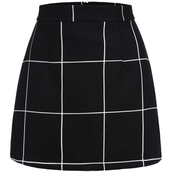 Black Plaid Mini Skirt (4.440 HUF) ❤ liked on Polyvore featuring skirts, mini skirts, bottoms, saias, sexy skirt, plaid skirt, bodycon skirt, short miniskirt and mini skirt