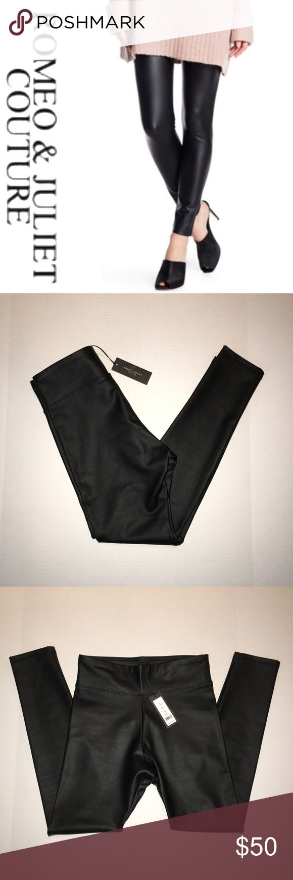 """NWT Romeo + Juliet high waisted leather leggings Perfect for a night out   Looks great paired w a crop top, over sized sweater or embellished boyfriend blazer   The Romeo and Juliet Couture black faux """"leather"""" legging is figure flattering with its high rise cut and thick material.   Size: small Waist: 13"""" Rise: 12.5"""" Inseam: 27""""  Perfect new with tags condition Romeo & Juliet Couture Pants Leggings"""
