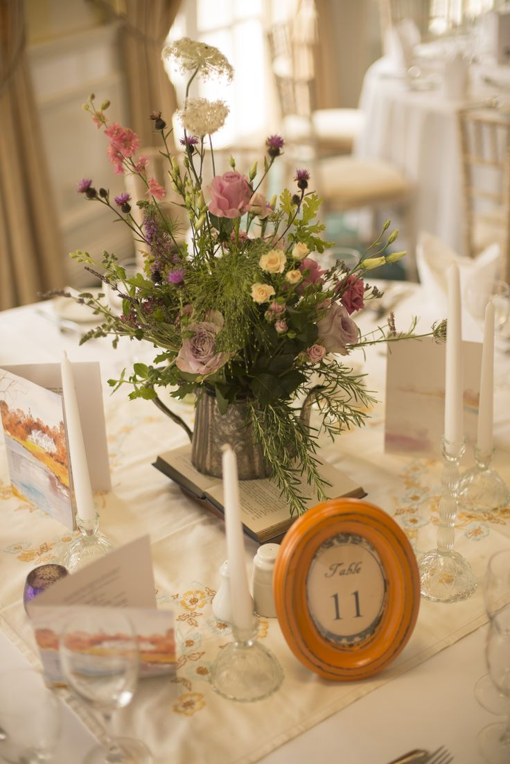 Guest Table details at Dee' Vintage style wedding at Innishannon House Hotel. Cork Flowers and styling by Jill at Wild www.wild.ie photo by Simon Harper