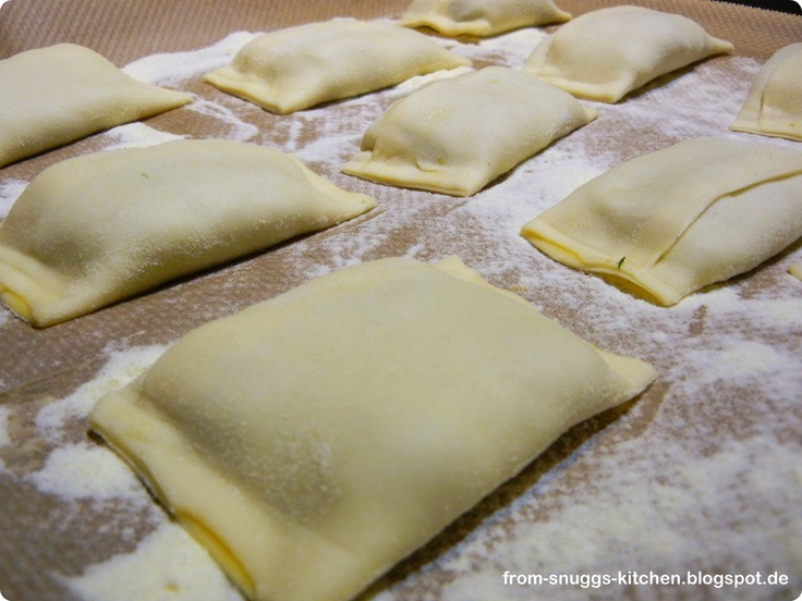 These are Maultaschen- German Ravioli. I make mine with venison, onion, and spinach. I use wonton wrappers sometimes for the dough.