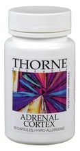 Adrenal Cortex-60 $11.35 by Thorne Research UPC# SG803 ~ Adrenal cortex tissue extracts play a valuable role in supporting healthy adrenal glands, support for healthy cortisol levels.* Adrenal Cortex provides adrenal cortex tissue for focused support and normal adrenal function