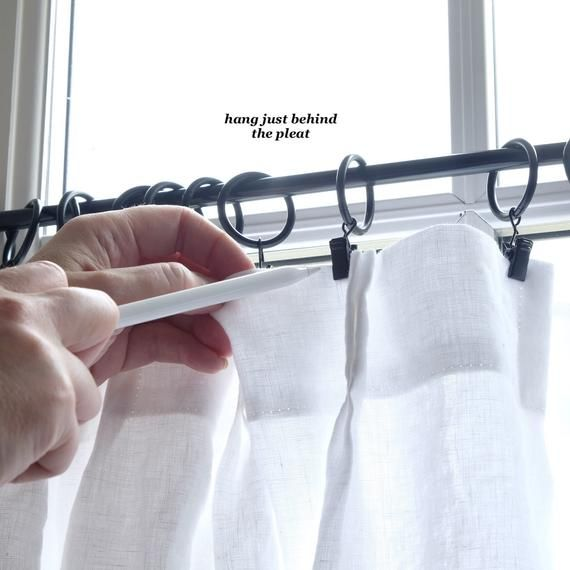 Linen Cafe Curtains Clip Rings Cafe Curtain Rings Black Etsy Sheer Linen Curtains Cafe Curtains Curtain Rings With Clips