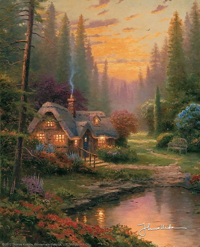 Thomas Kinkade - Meadowood Cottage  1996. Grandma paints like this!