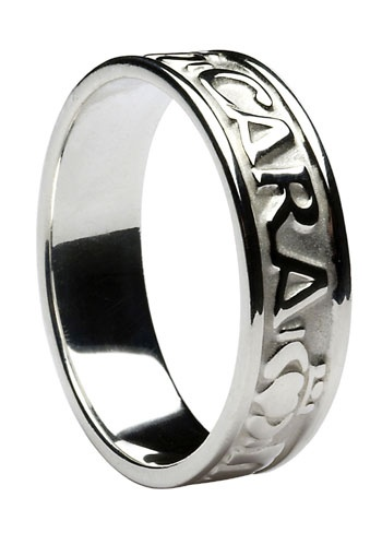 """""""Mo Anam Cara"""" Irish for My Soulmate words are etched onto this band in between the Claddagh Symbols - 14k White Gold Gents ring. Height of band 7.3mm. All rings handcrafted in Ireland, Hallmarked in Ireland and shipped from Ireland"""