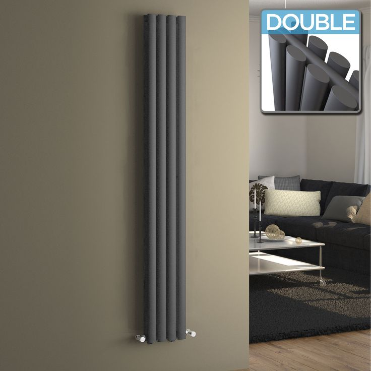 Perfekt Vertical Oval Tube Contemporary Gas Radiator In Anthracite 1800mm X 240mm