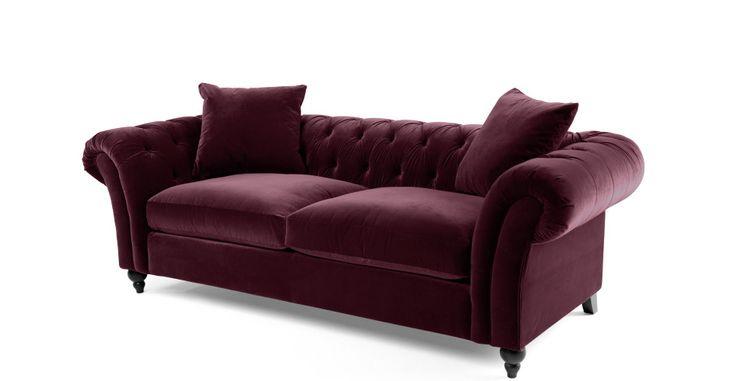 Bardot 3 Seater Chesterfield Sofa, Merlot Velvet | made.com
