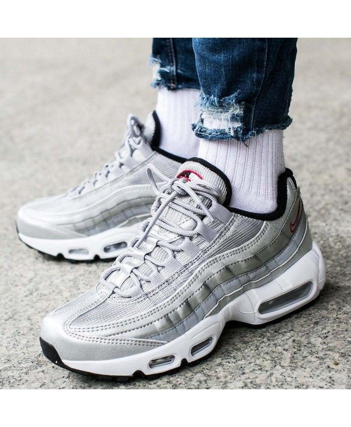 new product 1b0b8 d912e Nike Air Max 95 Premium Qs Silver Trainers