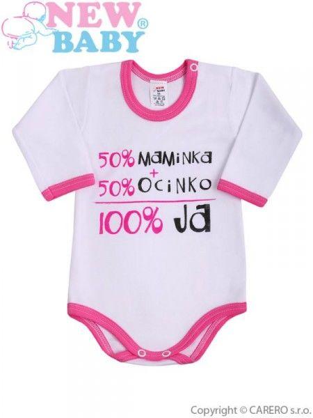 Body s dlhým rukávom so slovenským nápisom New Baby ružové Ružová 86 (12-18m)
